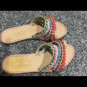 Madden girl jeweled and fringed sandals 7.5